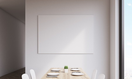 Close up of large horizontal poster on white kitchen wall. Concept of art in interior. 3d rendering. Mock up. Toned image 스톡 콘텐츠