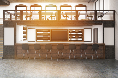 two floors: Pub with bar table, two floors, posters on white walls and rows of bottles with alcohol on shelves. Concept of partying. Mock up. Toned image. 3d rendering Stock Photo