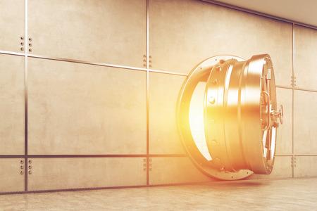 money vault: Slightly open sunlit vault door in gray wall. Concept of safe keeping of money and valuables. 3d rendering.