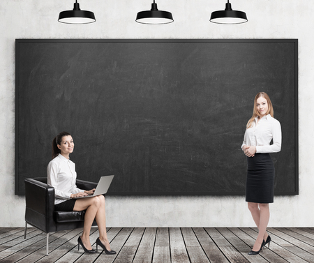 colleague: Girl with laptop sitting with her laptop in leather armchair near blank blackboard while her colleague with coffee is standing. Concept of business education. 3d rendering. Mock up
