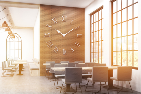 restaurant interior design: Restaurant interior with large clock on brick wall and long tables surrounded by chairs. Concept of interior design. Toned image. 3d rendering Stock Photo