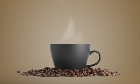 mocca: Black cup of coffee surrounded by coffee beans and standing against beige background. 3d rendering. Mock up Stock Photo