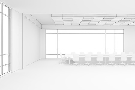 working hard: Office interior with two large panoramic windows in a skyscraper. Concept of working hard. 3d rendering. Mock up