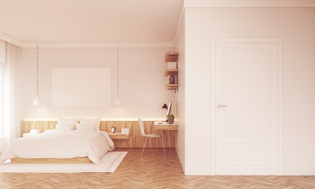 sunlit: Sunlit bedroom with poster above bad, study corner and white door. Concept of modern home. 3d rendering. Mockup. Toned image Stock Photo