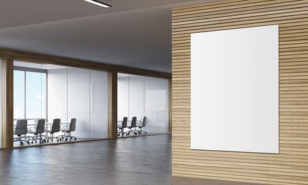 corridor: Large vertical poster hanging on wooden wall in corridor with two conference rooms. 3d rendering. Mock up Stock Photo