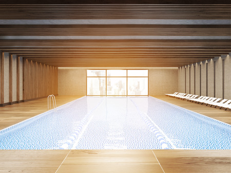 Sunlit public pool with clear water and wooden floor. Large city panorama is seen through window. Concept of being active. 3d rendering Stock Photo