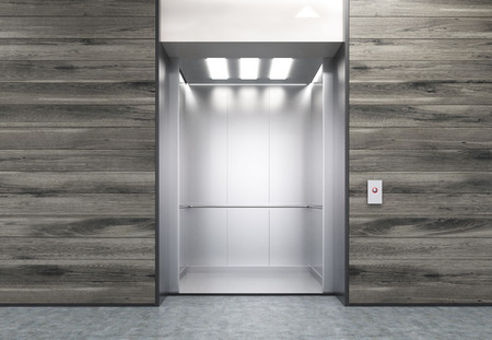 stainless: Wooden wall with open elevator in modern office. Concept of working in high building. 3d rendering. Mock up