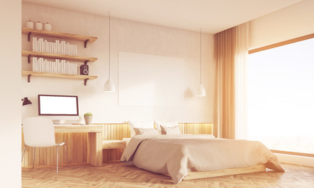 near: Bedroom and home office interior. Desk is standing near master bed. Large panoramic window. Concept of working at home. 3d rendering. Mock up. Toned image