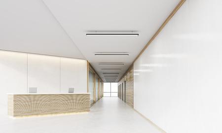ドアと木製の装飾品で軽い木製受付カウンターと長いオフィス廊下。モダンのコンセプトです。3 d レンダリング。モックアップを作成します。