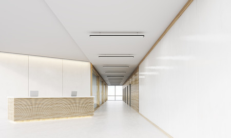 Long office corridor  with doors and wooden decorations and light wood reception counter in it. Concept of modern establishment. 3d rendering. Mock up.