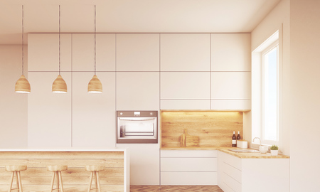 countertops: Front view of kitchen with oven, sink, countertops and window. Concept of healthy food. 3d rendering. Mock up. Toned image Stock Photo