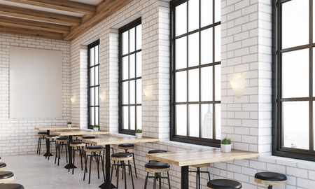 bar interior: Side view of bar interior with windows, stools and square tables. Vertical poster on white brick wall. Concept of drinking. 3d rendering. Mock up