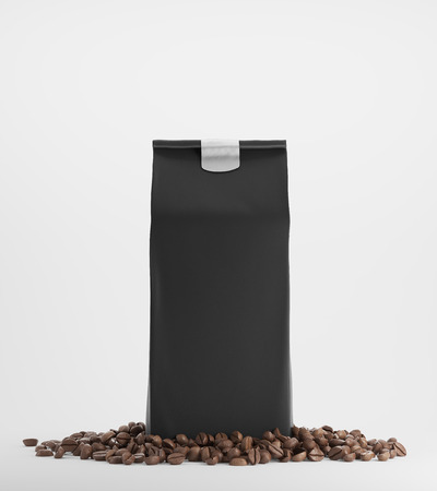 black coffee: Black pack of coffee surrounded by coffee beans and standing against white background. 3d rendering. Mock up Stock Photo