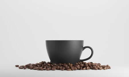 mocca: Black cup of coffee surrounded by coffee beans and standing against white background. 3d rendering. Mock up Stock Photo