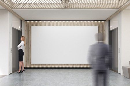 large doors: People in lobby with large horizontal poster on wooden wall. Two elevators with closed doors. Concept of entrance. 3d rendering. Mock up
