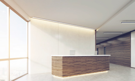 standing reception: Side view of wooden reception counter standing in modern establishment lobby with plastic and wood walls. Concept of minimalism. 3d rendering. Mock up. Toned image