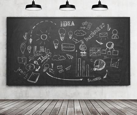 pensamiento estrategico: idea de negocio boceto dibujado en la pizarra con marcadores. Concepto de pensamiento estratégico. Las 3D. Foto de archivo