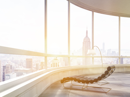 Close up of massage chair and a lamp in modern sunlit apartment or office in New York City. Concept of relaxation. 3d rendering. Mock up