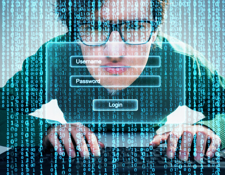 Close up of nerdy guy with keyboard and blue data flow with login window on the foreground. Concept of signing in. Double exposure Stock Photo