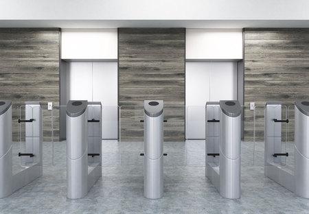 나무 벽에 스테인리스 turnstiles와 두 엘리베이터와 사무실 입구. 보안의 개념입니다. 3d 렌더링입니다. 모형.