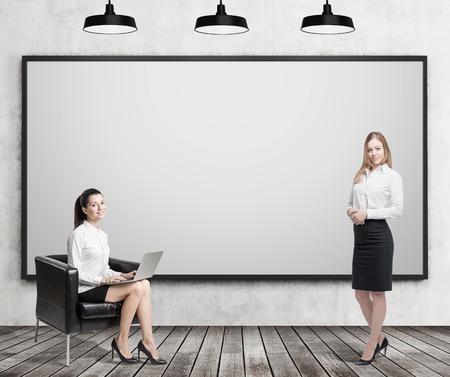 persona feliz: Chica con ordenador portátil sentado con su ordenador portátil en el sillón de cuero cerca de pizarra en blanco, mientras que su colega está de pie con el café. Concepto de la educación empresarial. Las 3D. Bosquejo Foto de archivo