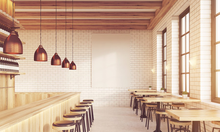 bar interior: Bar interior with stools, tables and large vertical poster on brick wall. Concept of pub culture. 3d rendering. Mock up. Toned image