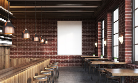 bar interior: Bar interior with stools, tables and large vertical poster on dark brick wall. Concept of pub culture. 3d rendering. Mock up. Toned image