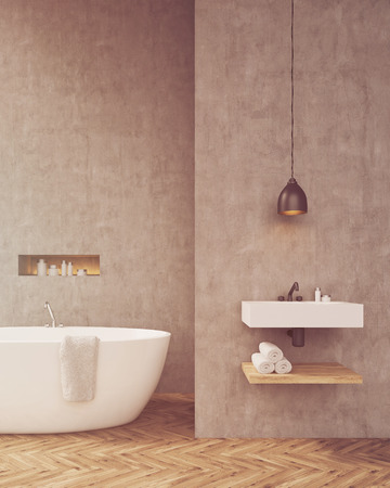 toning: Sunlit bathroom with sink and shelf for towels. Concrete walls, wooden floors. Concept of taking a bath. Mock up. Toned image. 3d rendering Stock Photo