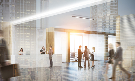 toning: Colleagues in lobby of office with reception counter and meeting room with glass doors. Concept of modern  workspace. 3d rendering. Mock up. Toned image. Double exposure Stock Photo