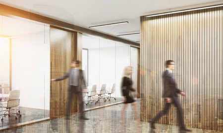 pointless: People leaving conference room after the meeting is over. Concept of pointless business routine. 3d rendering. Mock up. Toned image. Double exposure Stock Photo