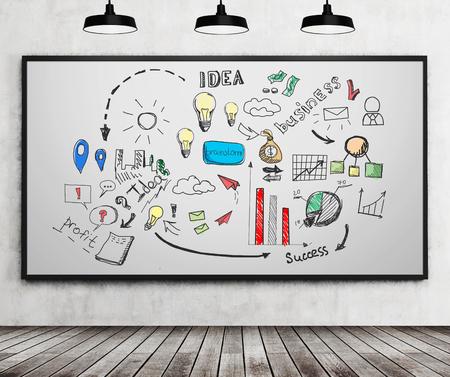 pensamiento estrategico: Colorido idea de negocio boceto dibujado en la pizarra con marcadores. Concepto de pensamiento estratégico. Las 3D.