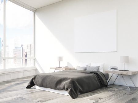 wooden floor: Close up of bed in bedroom with two small tables and horizontal poster hanging on white wall. 3d rendering. Mock up