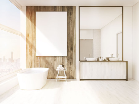 bath tub: Bathroom interior with mirror, bath tub, table with towels and sink. Large vertical poster on wall, panoramic window. 3d rendering. Mock up. Toned image Stock Photo