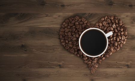 liking: Top view of cup of coffee standing on coffee beans shaped like a heart on wooden table. Concept of liking coffee. 3d rendering. Mock up. Stock Photo