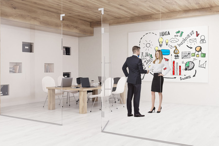 glass ceiling: People are talking in conference room with glass walls, business poster and a wooden ceiling. Concept of modern interior design. 3d rendering. Mock up