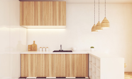 modern kitchen: Close up of kitchen table top with sink and light wood furniture. Concept of modern interior design. 3d rendering. Mock up. Toned image