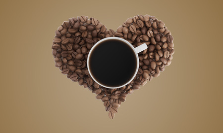 Top view of cup of coffee standing on coffee beans shaped like a heart against beige background. Concept of liking coffee. 3d rendering. Mock up.