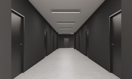 featureless: Perspective of office corridor with two rows of doors and an exit in the end. Concept of alternative and choice. 3d rendering. Mock up.