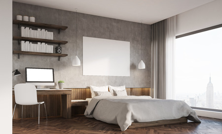 Bedroom in big city. Master bed with horizontal poster, computer on desk. Bookshelves. 3d rendering. Mockup. Фото со стока - 64776393