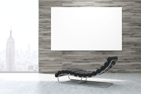 Massage armchair is standing in room with wooden panels, horizontal poster and magnificent New York view. 3d rendering. Mock up. Stock Photo