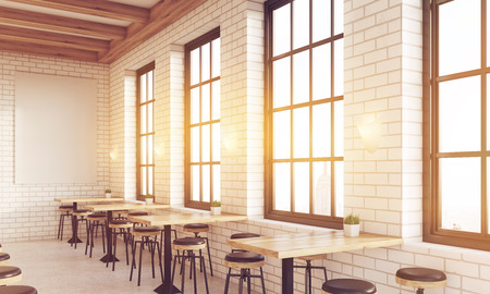bar interior: Side view of bar interior with windows, stools and square tables. Vertical poster on white brick wall. Concept of drinking. 3d rendering. Mock up. Toned image