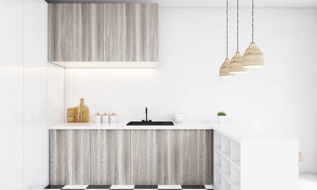 Primer plano de superficie de la mesa de la cocina con fregadero y ...