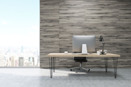 ceo office: CEO office with wooden walls and large panoramic windows. Workstation is standing on the table. Concept of hard work. 3d rendering. Mock up.