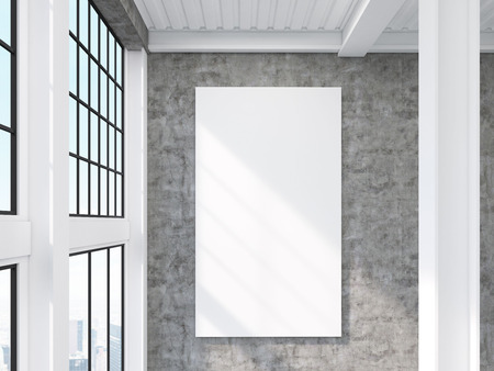 high ceiling: Close up of large vertical poster hanging on concrete wall in room with high ceiling. Concept of advertising. 3d rendering. Mock up Stock Photo