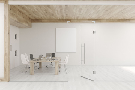 glass ceiling: Conference room with glass walls, vertical poster and a wooden ceiling. Concept of modern interior design. 3d rendering. Mock up