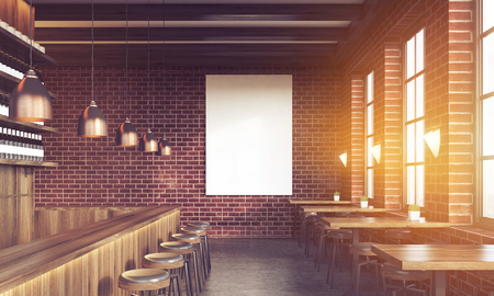 bar interior: Sunlit bar interior with stools, tables and large vertical poster on brick wall. Concept of pub culture. 3d rendering. Mock up. Toned image