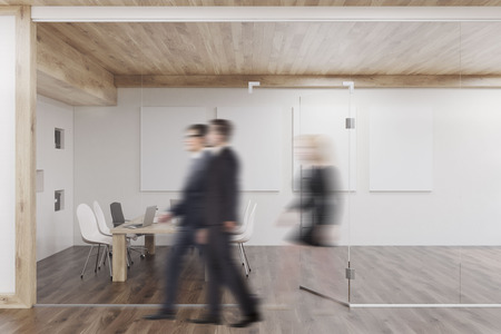 glass ceiling: People are passing a conference room with glass walls, four vertical posters and a wooden ceiling. Concept of teamwork. 3d rendering. Mock up