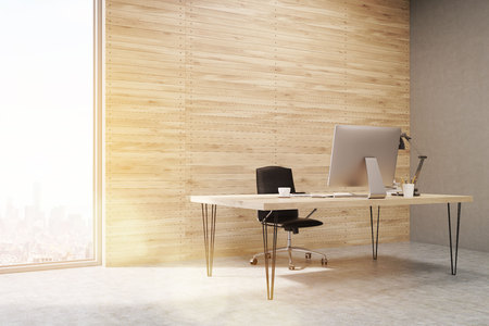 ceo: Side view of CEO office with wooden walls and large panoramic windows. Workstation is standing on the table. Concept of hard work. 3d rendering. Mock up. Toned image