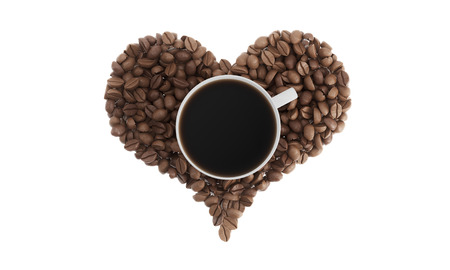 Top view of cup of coffee standing on coffee beans shaped like a heart against white background. Concept of liking coffee. 3d rendering. Mock up. Stock Photo