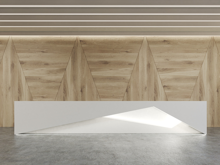 standing reception: Reception desk with mirror elements standing in room with wooden walls and concrete floor. 3d rendering. Mock up Stock Photo